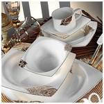 Kütahya Porselen 60108 Fileli Kare Bone 83 Parça Yemek Takımı
