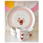 KeramIka Set Hıtıt Kahvaltı 8 Parca Beyaz 004 Pınk Cake A
