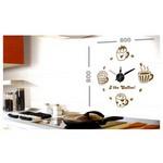 İhouse 10 C 12012 Stickerli Duvar Saati Kahve 80cmx80cm