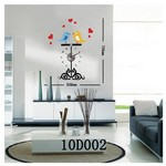 İhouse 10 D 002 Stickerli Duvar Saati Siyah 73cmx53cm