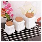 İhouse 5924 Bambulu Porselen Baharatlık Beyaz