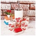 İhouse 6807d Seramik Banyo Seti Kırmızı