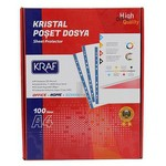 Kraf Poşet Dosya Kristal A4 100'lü Paket