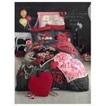 Clasy Love In Rose Çift Kisilik Digital 3d Baskı Pamuk Saten Nevresim Takımı Kırmızı