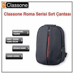 "Classone Roma Serisi Bp-m300, 8.7""-14"", Medium, Siyah, Ultrabook, Tablet Uyumlu, Note"