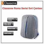 "Classone BP-M304 Roma 14"" Laptop Çantası - Gri"