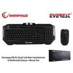 Everest Km-r7s Rampage Km-r7 Siyah Usb Mavi Ledli Q Multimedia Klavye + Mouse Set