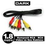 Dark DK-CB-VCOML180 1.8M Kompozit RCA-RCA Video ve Ses Kablosu