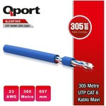 Q-Port Q-CAT6M CAT6 305M UTP Awg 23 0.57mm Mavi Network Kablosu