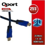 Q-Port HDMI Kablo 25 Metre 1.4 3D Altın Uçlu Kablo