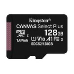 Kingston 128gb Microsdxc Canvas Select Plus 100r A1 C10 Card + Adapter